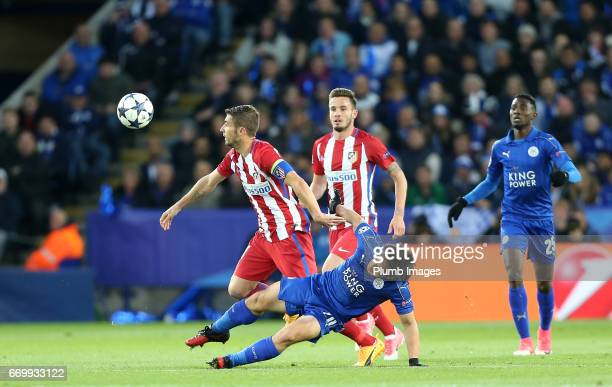 Shinji Okazaki of Leicester City in action with Gabi of Atletico Madrid during the UEFA Champions League Quarter Final Second Leg match between...