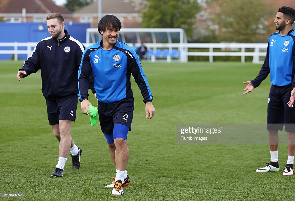 Shinji Okazaki of Leicester City laughs during a Leicester City training session at Belvoir Drive Training Ground on May 3, 2016 in Leicester, England.