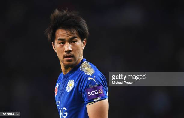 Shinji Okazaki of Leicester City looks on during the Premier League match between Leicester City and Everton at The King Power Stadium on October 29...