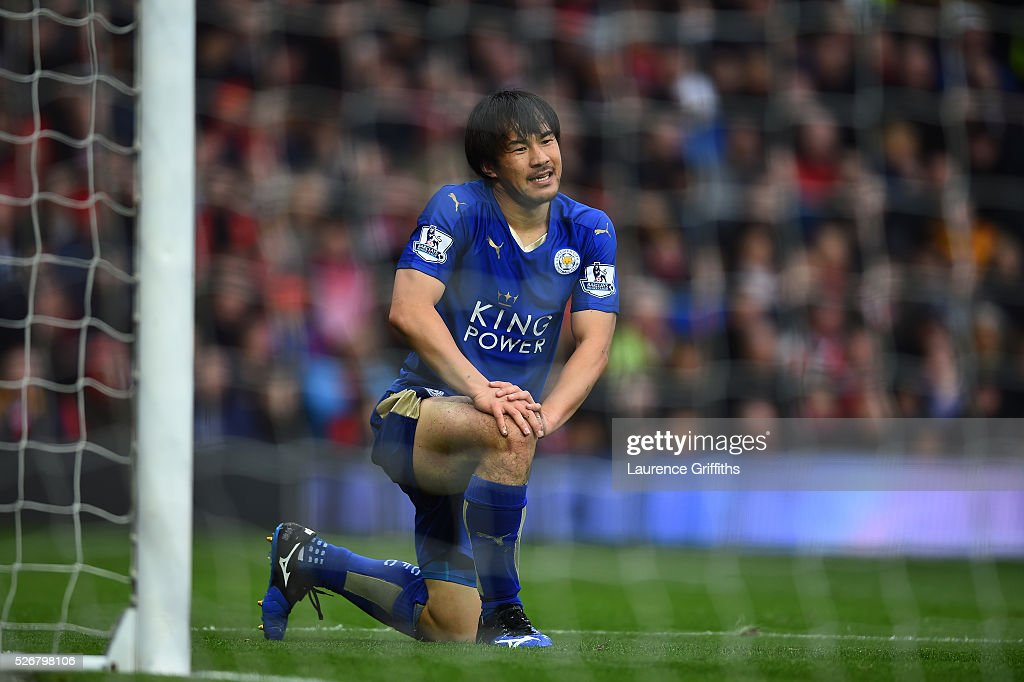 <a gi-track='captionPersonalityLinkClicked' href=/galleries/search?phrase=Shinji+Okazaki&family=editorial&specificpeople=4320771 ng-click='$event.stopPropagation()'>Shinji Okazaki</a> of Leicester City reacts after a missed chance during the Barclays Premier League match between Manchester United and Leicester City at Old Trafford on May 1, 2016 in Manchester, England.