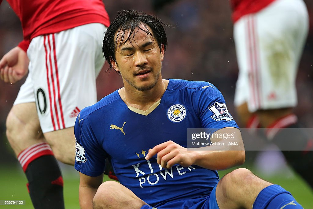 <a gi-track='captionPersonalityLinkClicked' href=/galleries/search?phrase=Shinji+Okazaki&family=editorial&specificpeople=4320771 ng-click='$event.stopPropagation()'>Shinji Okazaki</a> of Leicester City reacts during the Barclays Premier League match between Manchester United and Leicester City at Old Trafford on May 1, 2016 in Manchester, United Kingdom.