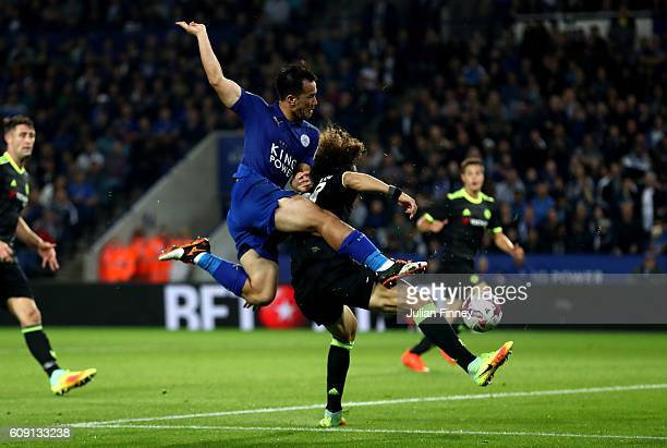 Shinji Okazaki of Leicester City scores his and his sides second goal during the EFL Cup Third Round match between Leicester City and Chelsea at The...