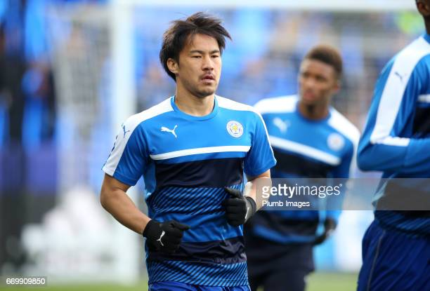 Shinji Okazaki of Leicester City warm up at King Power Stadium ahead of the UEFA Champions League Quarter Final Second Leg match between Leicester...