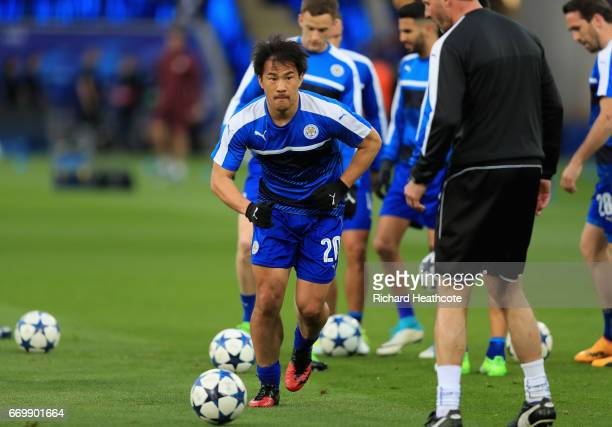 Shinji Okazaki of Leicester City warms up prior to the UEFA Champions League Quarter Final second leg match between Leicester City and Club Atletico...