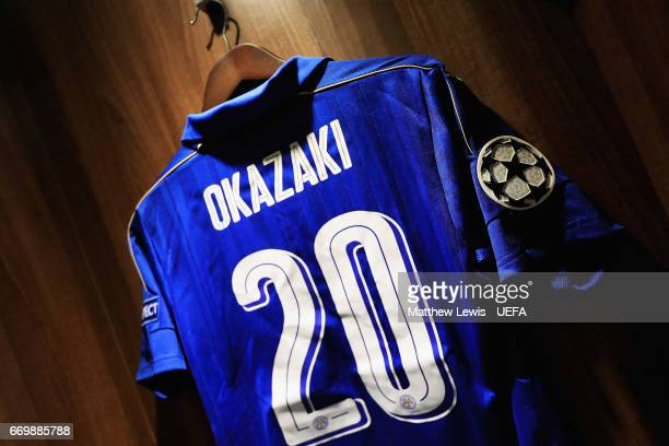 Shinji Okazaki of Leicester City's shirt hangs up ahead of the UEFA Champions League Quarter Final second leg match between Leicester City and Club...