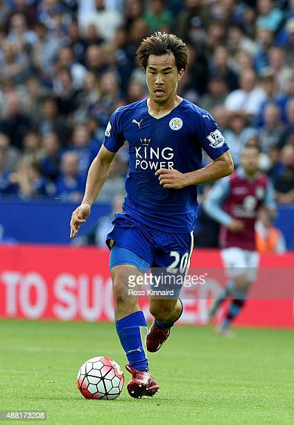 Shinji Okazaki of Leicester in action during the Barclays Premier League match between Leicester City v Aston Villa at the King Power Staduim on...