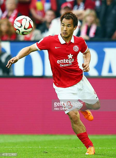 Shinji Okazaki of Mainz controles the ball during the Bundesliga match between 1 FSV Mainz 05 and 1 FC Koeln at Coface Arena on May 16 2015 in Mainz...