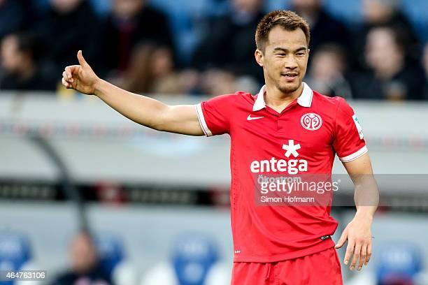 Shinji Okazaki of Mainz gestures during the Bundesliga match between 1899 Hoffenheim and 1 FSV Mainz 05 at Wirsol RheinNeckarArena on February 28...