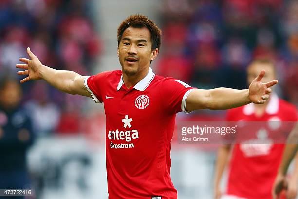 Shinji Okazaki of Mainz reacts during the Bundesliga match between 1 FSV Mainz 05 and 1 FC Koeln at Coface Arena on May 16 2015 in Mainz Germany