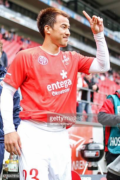 Shinji Okazaki of Mainz smiles prior to the the Bundesliga match between 1 FSV Mainz 05 and Hamburger SV at Coface Arena on May 3 2015 in Mainz...