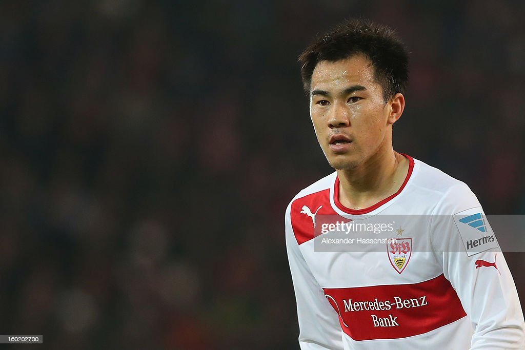 Shinji Okazaki of Stuttgart during the Bundesliga match between VfB Stuttgart and FC Bayern Muenchen at Mercedes-Benz Arena on January 27, 2013 in Stuttgart, Germany.