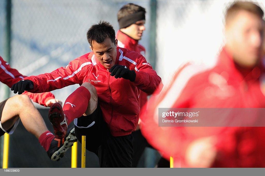 Shinji Okazaki of Stuttgart practices during a training session at day seven of the Vfb Stuttgart Training Camp on January 10, 2013 in Belek, Turkey.