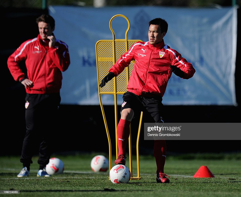 <a gi-track='captionPersonalityLinkClicked' href=/galleries/search?phrase=Shinji+Okazaki&family=editorial&specificpeople=4320771 ng-click='$event.stopPropagation()'>Shinji Okazaki</a> of Stuttgart practices during a training session at day seven of the Vfb Stuttgart Training Camp on January 10, 2013 in Belek, Turkey.