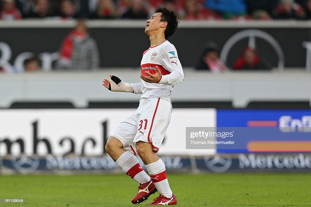 <a gi-track='captionPersonalityLinkClicked' href=/galleries/search?phrase=Shinji+Okazaki&family=editorial&specificpeople=4320771 ng-click='$event.stopPropagation()'>Shinji Okazaki</a> of Stuttgart reacts during the Bundesliga match between VfB Stuttgart and Werder Bremen at Mercedes-Benz Arena on February 9, 2013 in Stuttgart, Germany.