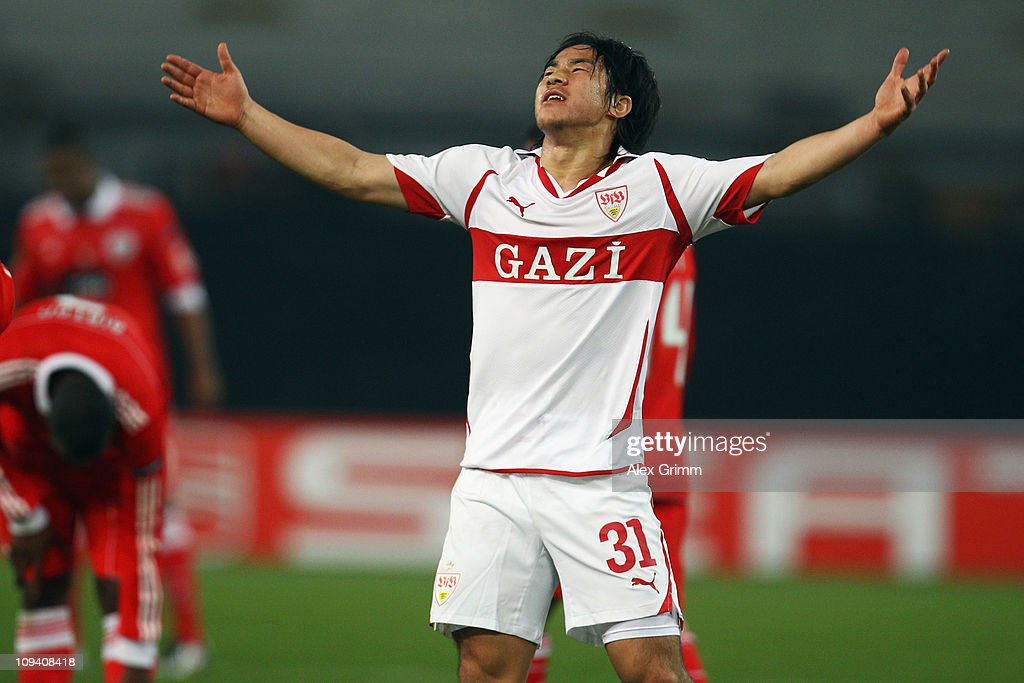 <a gi-track='captionPersonalityLinkClicked' href=/galleries/search?phrase=Shinji+Okazaki&family=editorial&specificpeople=4320771 ng-click='$event.stopPropagation()'>Shinji Okazaki</a> of Stuttgart reacts during the UEFA Europa League match round of 32 second leg between VfB Stuttgart and Benfica at Mercedes-Benz Arena on February 24, 2011 in Stuttgart, Germany.
