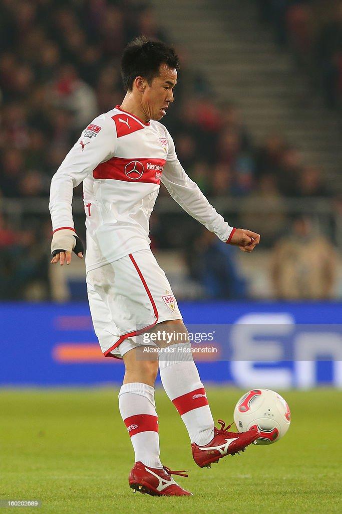 Shinji Okazaki of Stuttgart runs with the ball during the Bundesliga match between VfB Stuttgart and FC Bayern Muenchen at Mercedes-Benz Arena on January 27, 2013 in Stuttgart, Germany.