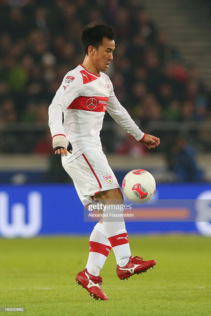 Shinji Okazaki of Stuttgart runs with the ball during the Bundesliga match between VfB Stuttgart and FC Bayern Muenchen at Mercedes-Benz Arena on January 27, 2013 in Stuttgart, Germany.