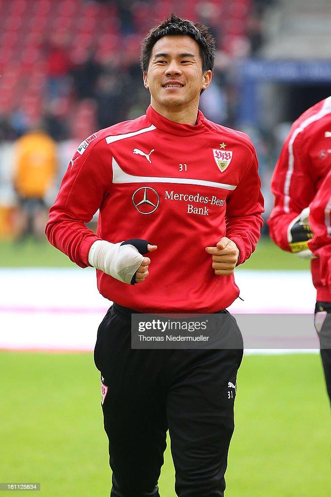 Shinji Okazaki of Stuttgart warms up prior to the Bundesliga match between VfB Stuttgart and Werder Bremen at Mercedes-Benz Arena on February 9, 2013 in Stuttgart, Germany.