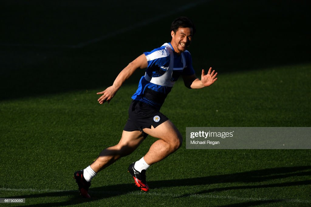 Shinji Okazaki warms up during a Leicester City training session ahead of their UEFA Champions League Quarter-Final match against Atletico Madrid at Vicente Calderon Stadium on April 11, 2017 in Madrid, Spain.