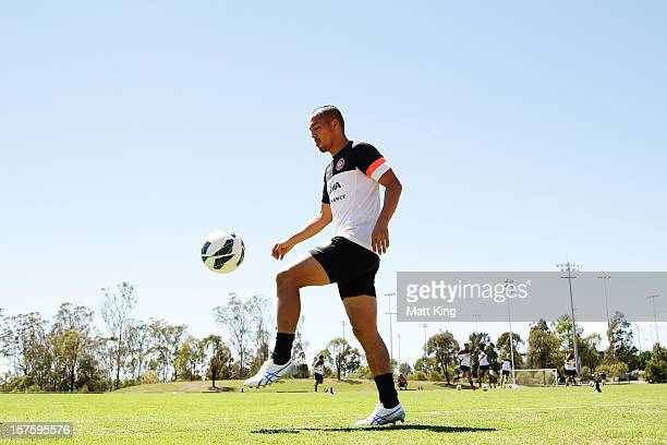 Shinji Ono controls the ball during a Western Sydney Wanderers ALeague training session at Blacktown International Sportspark on December 5 2012 in...