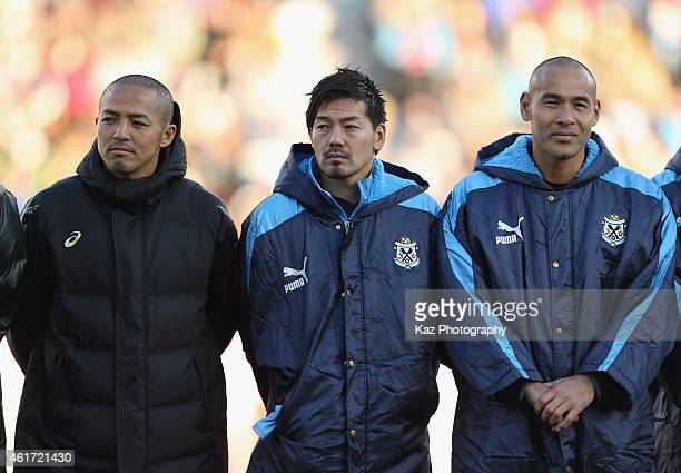 Shinji Ono Ddaisuke Matsui and Naohiro Takahara look on after the Daisuke Oku Memorial Match between J Amigos and Yokohama Friends at Yamaha Stadium...