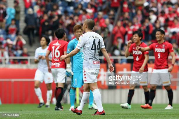 Shinji Ono of Consadole Sapporo leaves the pitch after his side's 23 defeat in the JLeague J1 match between Urawa Red Diamonds and Consadole Sapporo...