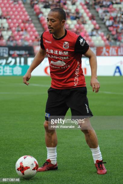 Shinji Ono of Consadole Sapporo warms up prior to the JLeague J1 match between Kashima Antlers and Consadole Sapporo at Kashima Soccer Stadium on...