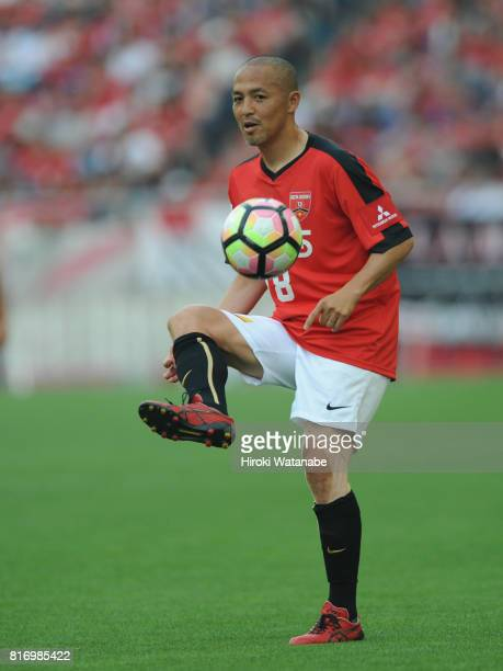 Shinji Ono of Reds Legends in action during the Keita Suzuki testimonial match between Reds Legends and Blue Friends at Saitama Stadium on July 17...