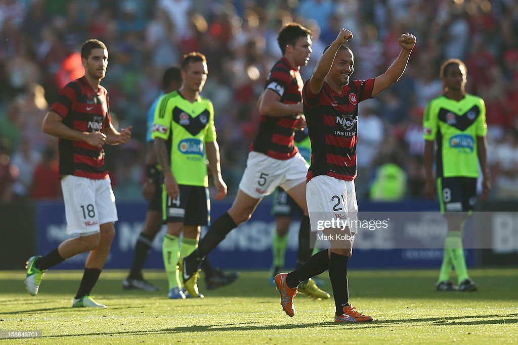 Shinji Ono of the Wanderers celebrates scoring a goal during the round 14 A-League match between the Western Sydney Wanderers and the Melbourne Victory at Parramatta Stadium on January 1, 2013 in Sydney, Australia.