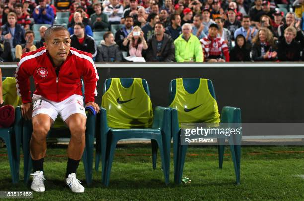 Shinji Ono of the Wanderers starts on the bench during the round one ALeague match between the Western Sydney Wanderers FC and the Central Coast...