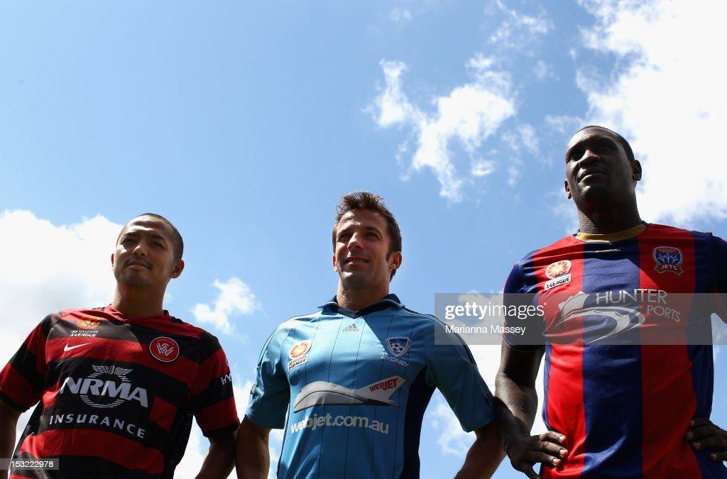 Shinji Ono of Western Sydney Wanderers Alessandro Del Piero of Sydney FC and Emile Heskey of Necastle Jets pose during the 2012/13 ALeague Season...