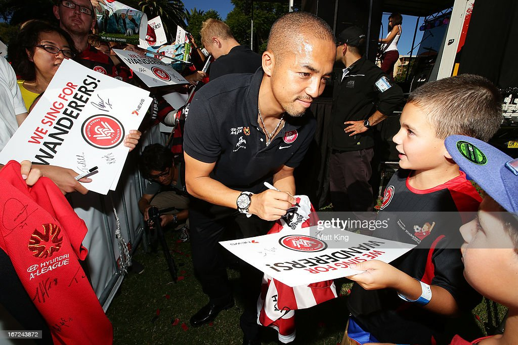 Shinji Ono signs autographs for fans during a Western Sydney Wanderers A-League Civic Reception on April 23, 2013 in Parramatta, Australia.