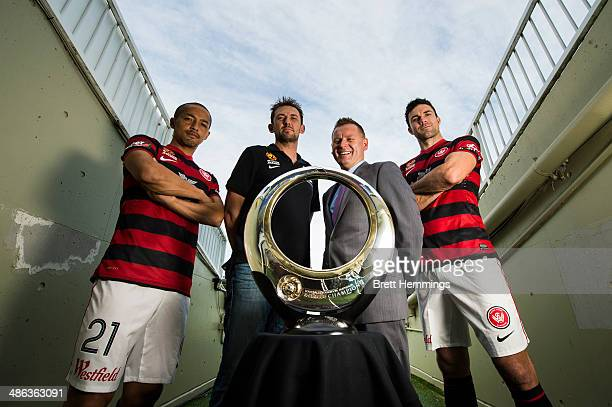 Shinji Ono Tony Popovic Damien de Bohun and Michael Beauchamp of the Western Sydney Wanderers pose with the ALeague Championship Trophy at Pirtek...