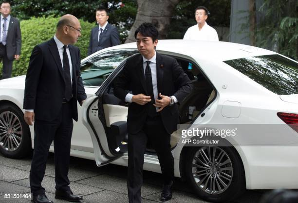 Shinjiro Koizumi a member of the House of Representatives from the Liberal Democratic Party arrives at controversial Yasukuni shrine on the 72nd...