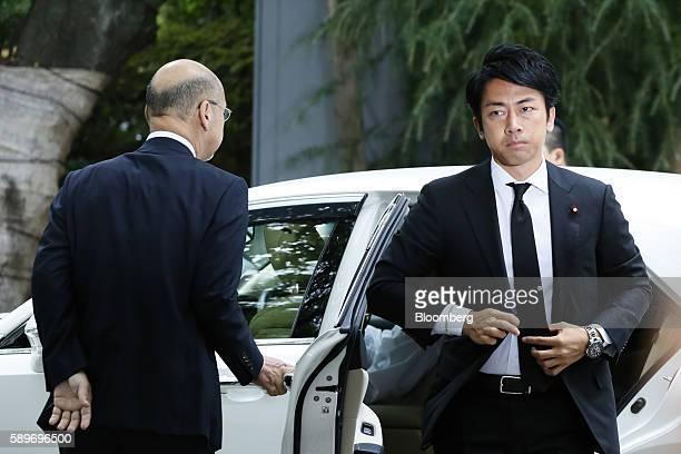 Shinjiro Koizumi member of the House of Representatives and son of former Japanese Prime Minister Junichiro Koizumi visits the Yasukuni Shrine on the...