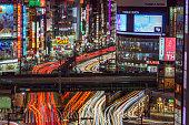 Traffic light trails in Shinjuku,Tokyo.