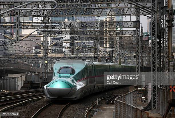Shinkansen bullet train arrives at Tokyo Train Station on May 02 2016 in Tokyo Japan The Shinkansen is a network of highspeed railway lines in Japan...