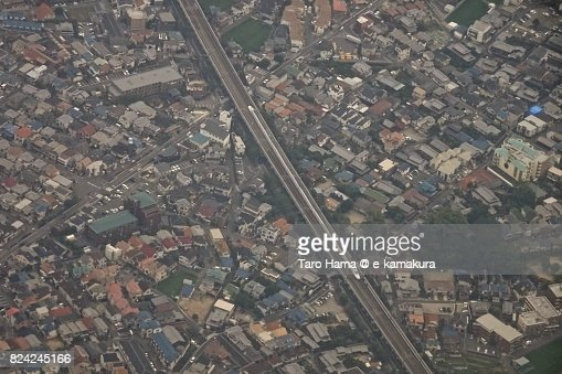 Shinkansen running in Osaka city in Osaka prefecture daytime aerial view from airplane : ストックフォト