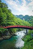 Futarasan jinja. Red wooden Shinkyo bridge, Nikko, Japan