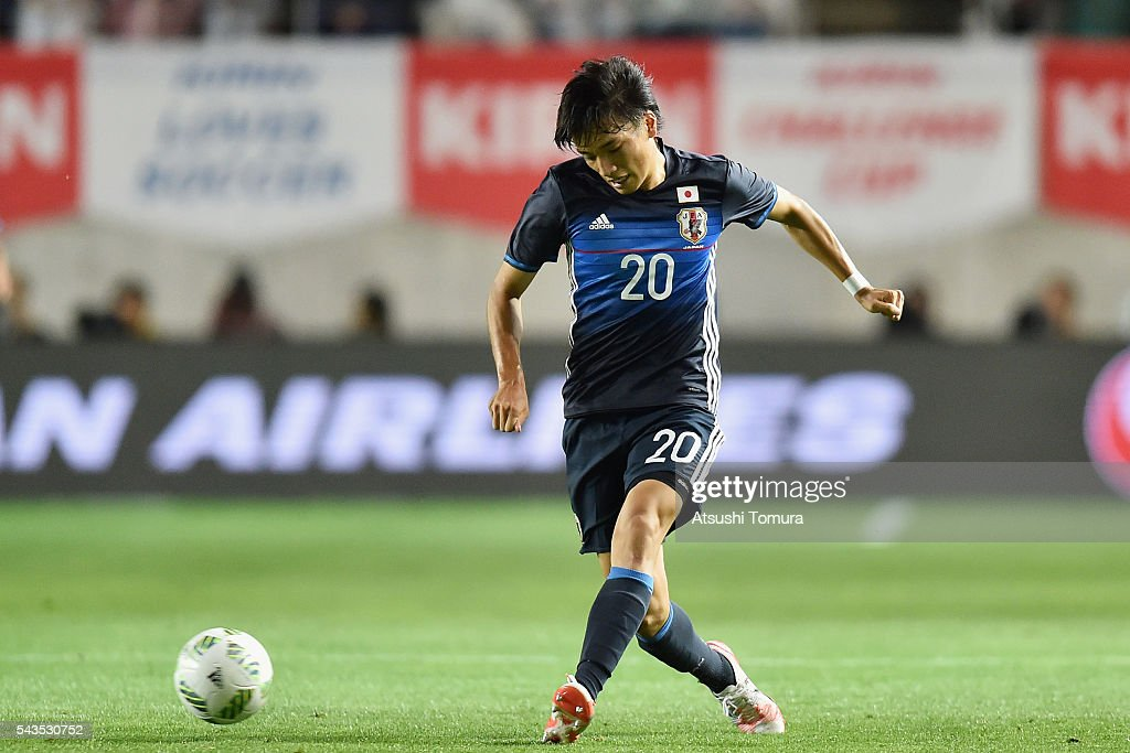 Shinnosuke Nakatani of Japan in action during the U-23 international friendly match between Japan and South Africa at the Matsumotodaira Football Stadium on June 29, 2016 in Matsumoto, Nagano, Japan.