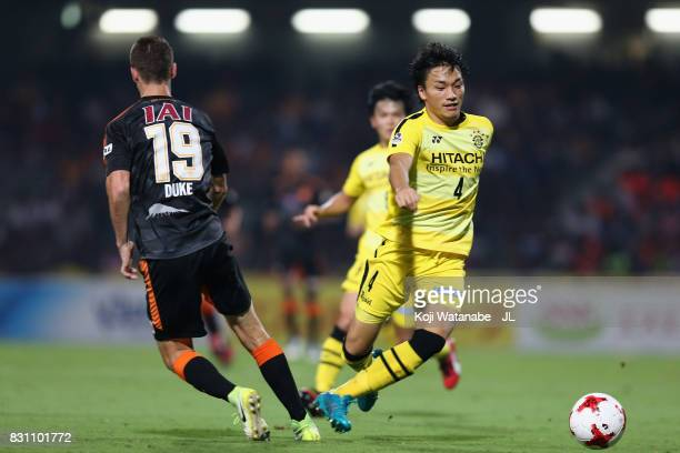 Shinnosuke Nakatani of Kashiwa Reysol and Mitchell Duke of Shimizu SPulse compete for the ball during the JLeague J1 match between Shimizu SPulse and...