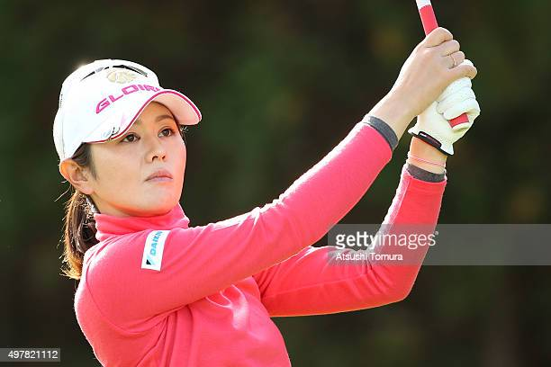Shinobu Moromizato of Japan hits her tee shot on the 11th hole during the first round of the Daio Paper Elleair Ladies Open 2015 at the Itsuurateien...