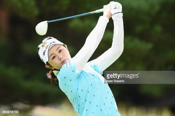 Shinobu Moromizato of Japan hits her tee shot on the 12th hole during the second round of the NEC Karuizawa 72 Golf Tournament 2017 at the Karuizawa...