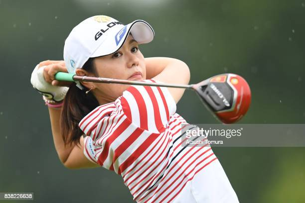 Shinobu Moromizato of Japan hits her tee shot on the 15th hole during the first round of the Nitori Ladies 2017 at the Otaru Country Club on August...