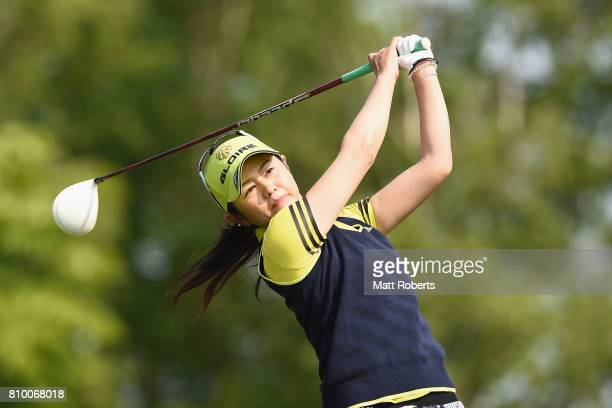Shinobu Moromizato of Japan hits her tee shot on the 1st hole during the first round of the Nipponham Ladies Classics at the Ambix Hakodate Club on...