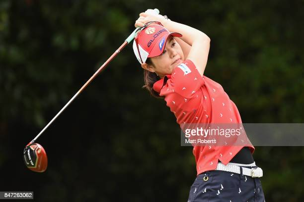 Shinobu Moromizato of Japan hits her tee shot on the 2nd hole during the first round of the Munsingwear Ladies Tokai Classic 2017 at the Shin Minami...