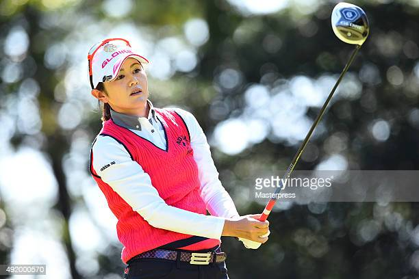 Shinobu Moromizato of Japan looks on during the first round of Stanley Ladies Golf Tournament at the Tomei Country Club on October 9 2015 in Susono...