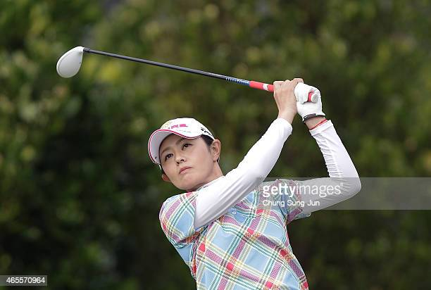 Shinobu Moromizato of Japan plays a tee shot during the final round of the Daikin Orchid Ladies Golf Tournament at the Ryukyu Golf Club on March 8...
