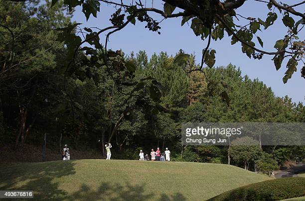 Shinobu Moromizato of Japan plays a tee shot on the 2nd hole during the first round of the Nobuta Group Masters GC Ladies at the Masters Gold Club on...