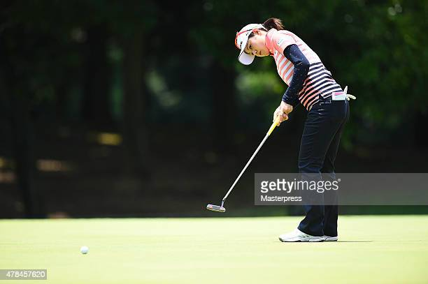 Shinobu Moromizato of Japan putts on the 11th green during the first round of the Earth Mondamin Cup at the Camellia Hills Country Club on June 25...